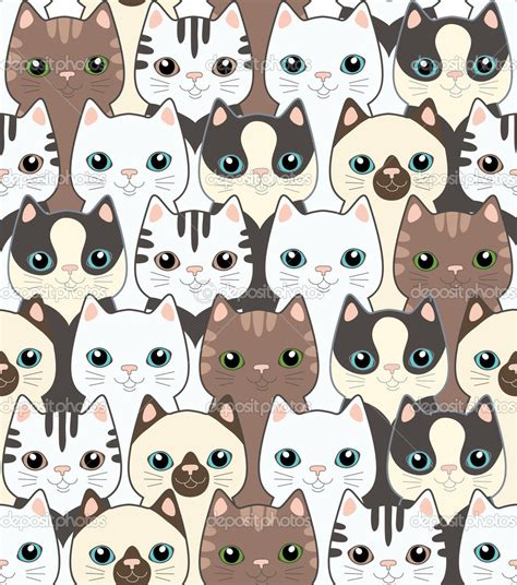 wallpaper cat illustration depositphotos 14077352 funny cartoon cats seamless