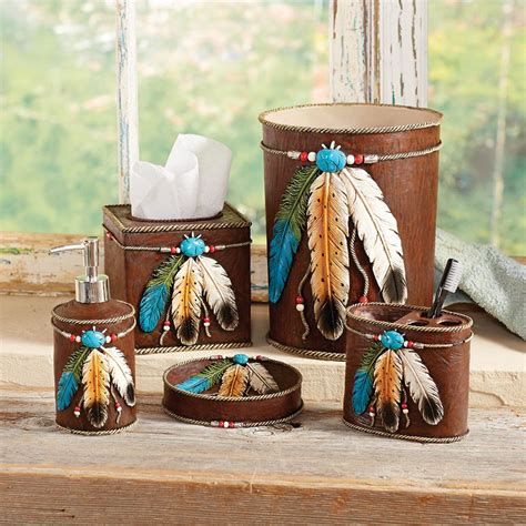turquoise feather bath accessories