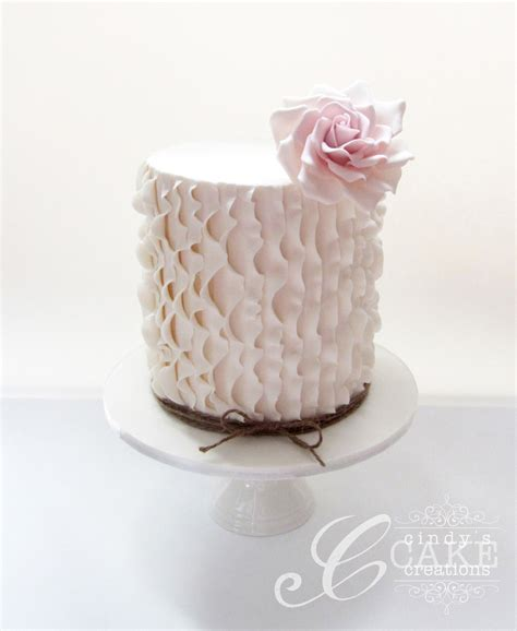 Vertical Ruffle Cake With A Vintage Fondant Rose On An Extended Height Single Tier This Was Made