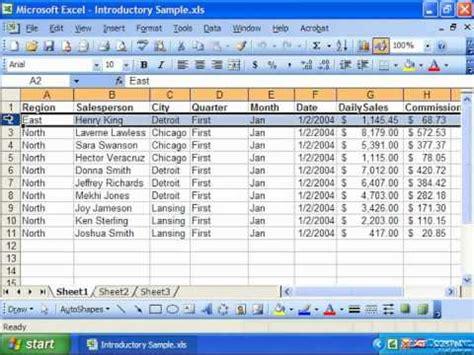 tutorial microsoft excel 2003 excel 2003 tutorial freezing panes microsoft training