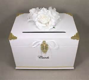 card box wedding white gold wooden wedding card box trunk by dazzlinggrace