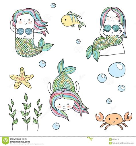 doodle 4 underwater mermaids and underwater sea creatures doodles stock