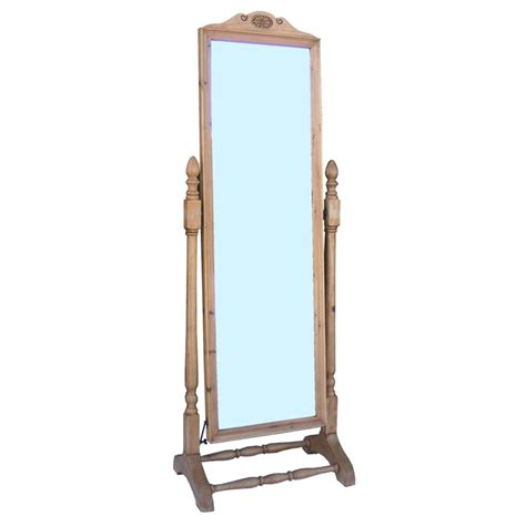 antique pine cheval mirror on stand