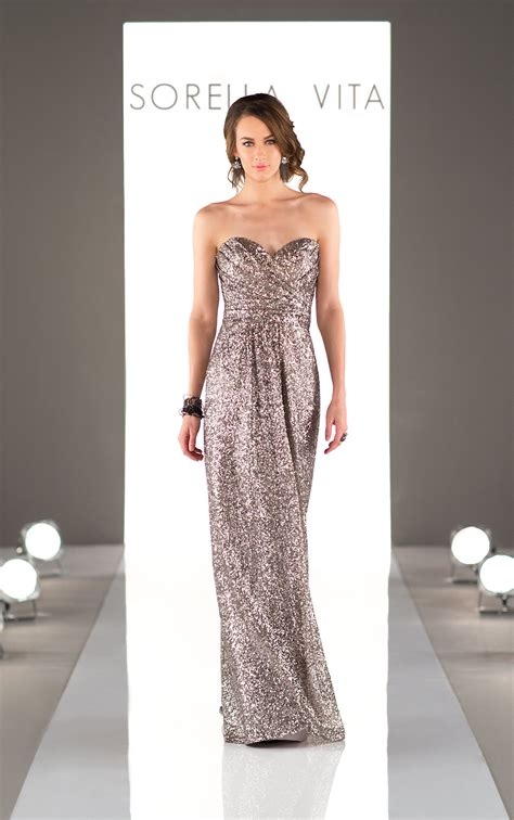 long metallic sequin bridesmaid dress sorella vita