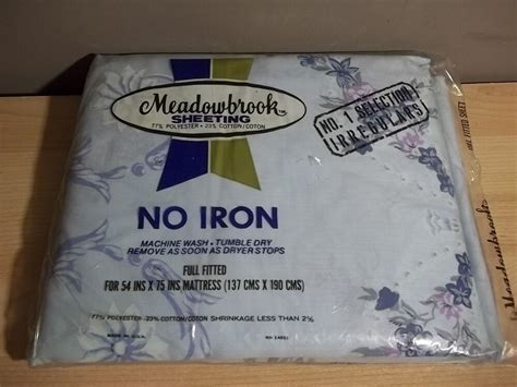 vintage new meadowbrook no iron full fitted sheet blue floral cotton polyester ebay