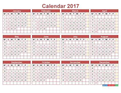 printable calendar numbers 2017 calendar with week numbers printable template indian red
