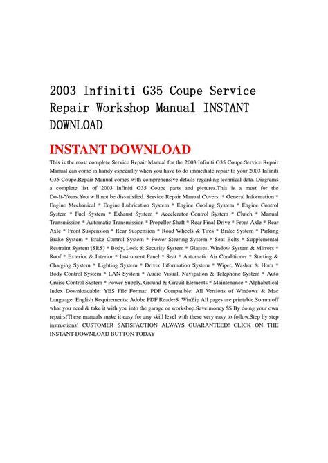 service repair manual free download 2003 infiniti m regenerative braking 2003 infiniti g35 coupe service repair workshop manual instant download by lin leiww issuu
