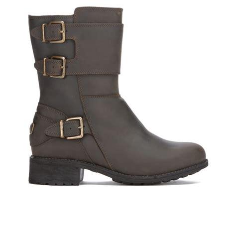 buy womens biker boots ugg s wilcox buckle biker boots stout womens