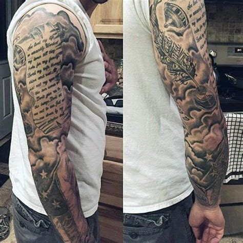shaded sleeve tattoos for men 60 scroll tattoos for manly paper design ideas