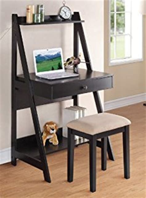 Black Leaning Desk by 2 Pc Black Finish Wood Leaning Wall Desk With