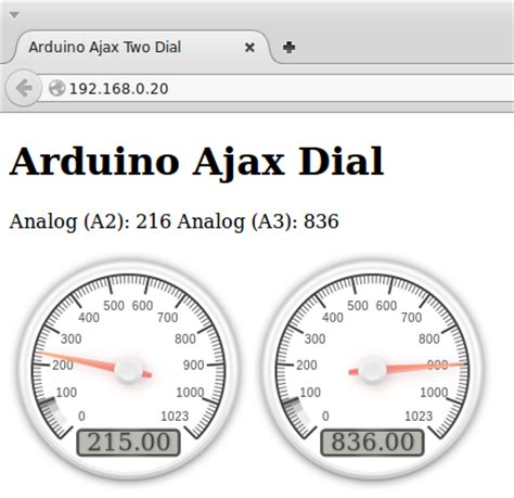 arduino ajax tutorial arduino ethernet web server with two dial gauges