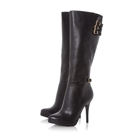 dune snitchee high heel knee high boots in black black
