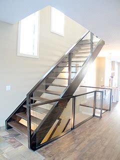wood  glass railings artistic stairs open riser