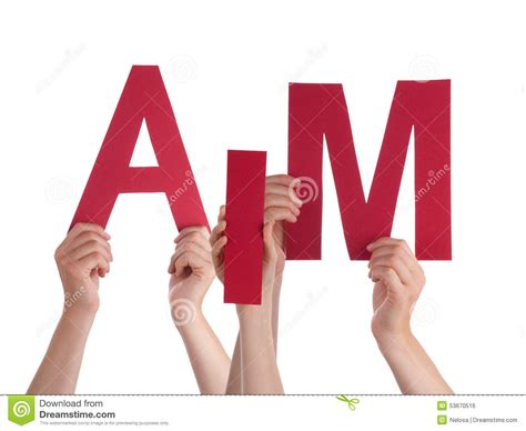 Character Building Letter Many Holding Word Aim Stock Photo Image 53670516