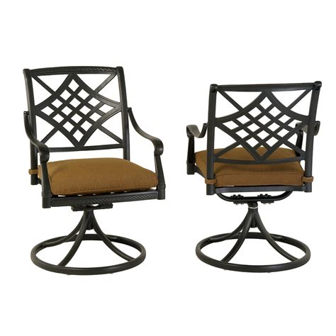 Patio Swivel Rocker Chairs Shop Allen Roth Set Of 2 Whitley Place Burnished Black Powder Coated Aluminum Swivel Rocker