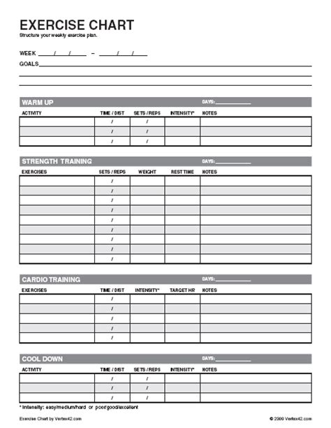 workout chart template printable exercise log images