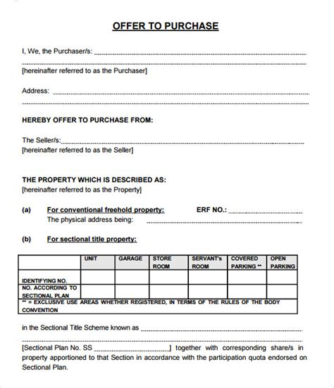 real estate documents templates sle offer to purchase real estate form 9 documents
