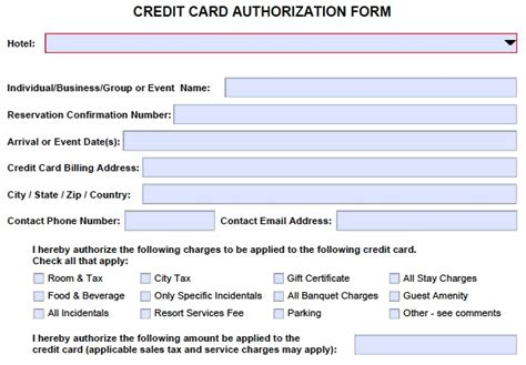hotel credit card authorization form template credit card authorization form card not present cenpos
