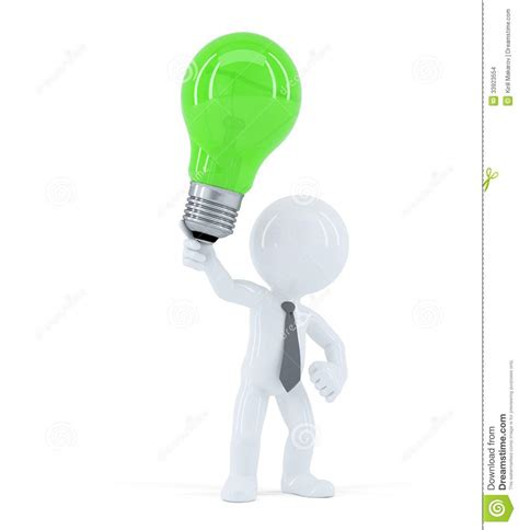 green creative lighting rep business man with green light concept of creative
