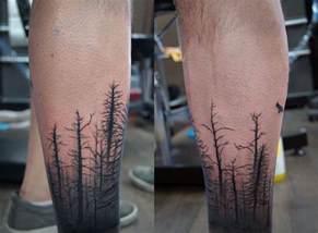 calf sleeve dead forest and birds tattoo chronic ink