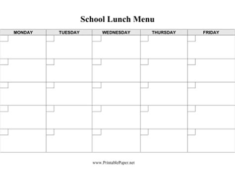 school menu templates free printable school lunch menu template