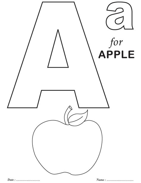 printable coloring pages letters printables alphabet a coloring sheets pre k pinterest