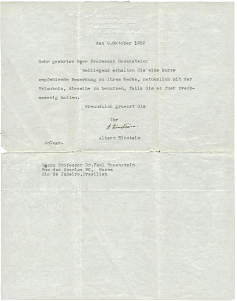 Reference Letter In German lot detail albert einstein typed signed recommendation
