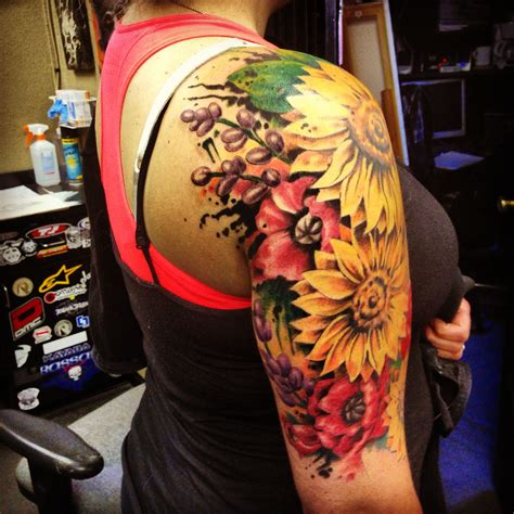 sunflower arm tattoo heavenly sunflower sunflower shoulder on