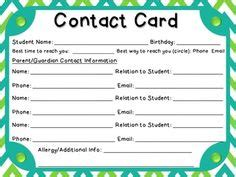 parent contact info card template children s church sign in sheet template search