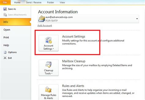 Login Search Email Microsoft Outlook 2010 Email Account Settings Setup