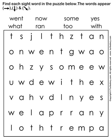 Sight Words Worksheets Free by Identify The Given Sight Words Worksheet Turtle Diary