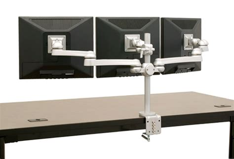 3 monitor standing desk multiple monitor stands multi monitor arms