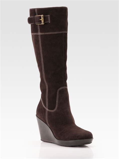 wedge knee boots cole haan air tali suede knee high wedge boots in brown