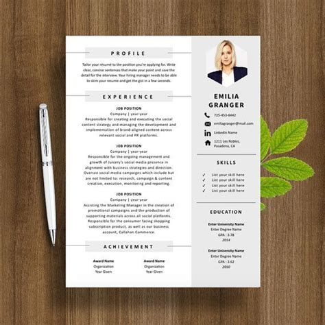 Resume Template Creative Professionals Professional Resume Template Cover Letter For Ms Word Modern Cv Design Instant Digital