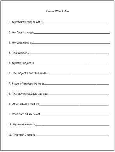 Guess Who Printable Worksheets