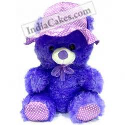 violet color teddy bear with hat 40 cm courieredp