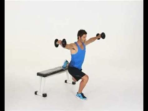 back raise bench lunges dumbbell lateral raise back foot on bench
