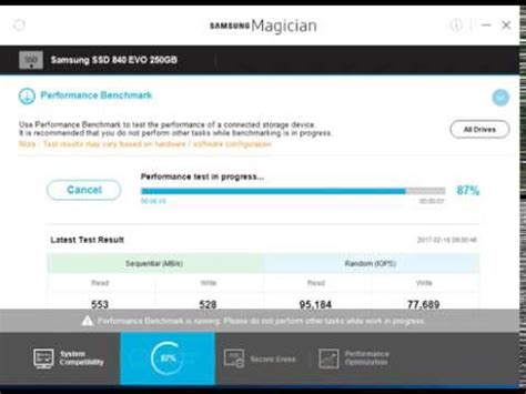 video bench mark samsung magician performance benchmark test ssd 840 evo