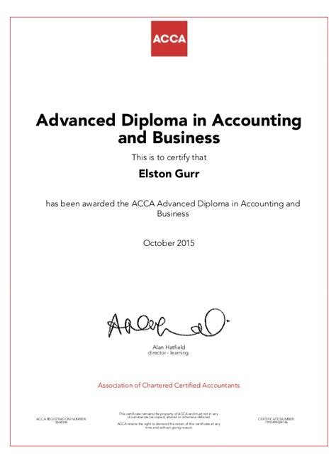 Post Mba Accounting Certificate by Acca Advanced Diploma In Accounting In Business Certificate