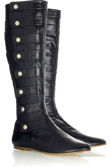 moccasin black leather boots