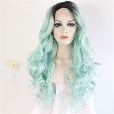 mint color hair wavy roots mint green ombre synthetic lace front