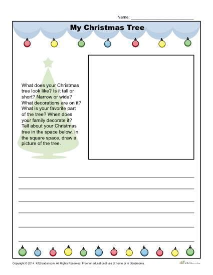 christmas writing activities for 2nd grade my tree writing prompt