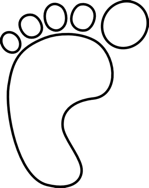 foot coloring page left foot hollow clip at clker vector clip