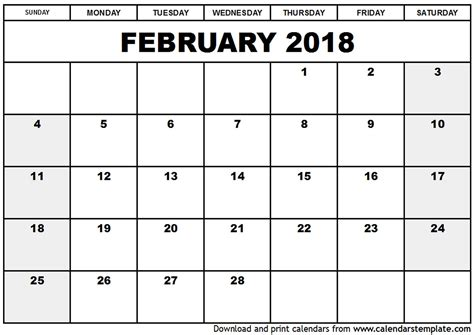 printable monthly calendar uk february 2018 calendar with holidays uk monthly calendar