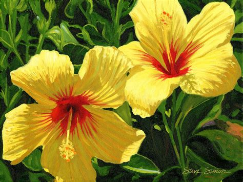 which state has a hibiscus yellow hibiscus painting by steve simon