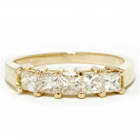 1ct princess cut anniversary 14k yellow gold ring