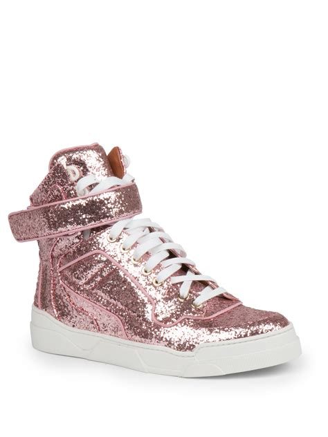 sneaker pink givenchy glitter high top sneaker in pink lyst