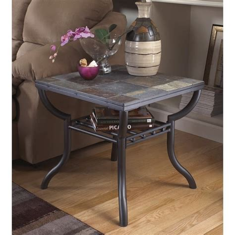 antigo square end table antigo slate tile square end table in black t233 2