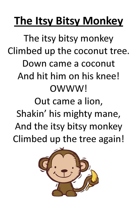 Itsy Bitsy Animals itty bitty rhyme the itsy bitsy monkey itty bitty