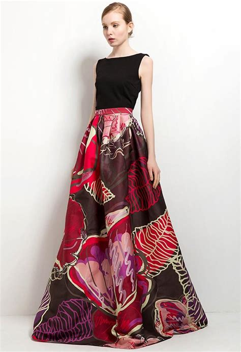 a full length printed skirt gets a touch of luxe via a modest vibrant and bold floor length floral printed maxi